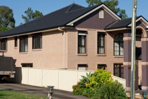 house with window roller shutters