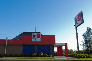 Side view of KFC Ingleburn with blockout window shutters