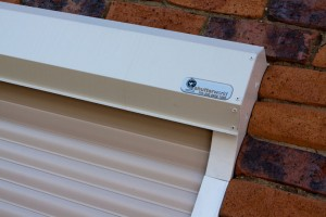 shutter box of security roller shutters with Shutter World logo