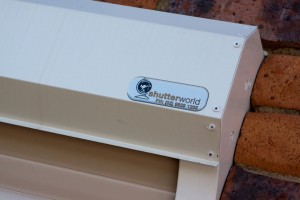 closer view of shutter box of security roller shutters with Shutter World logo