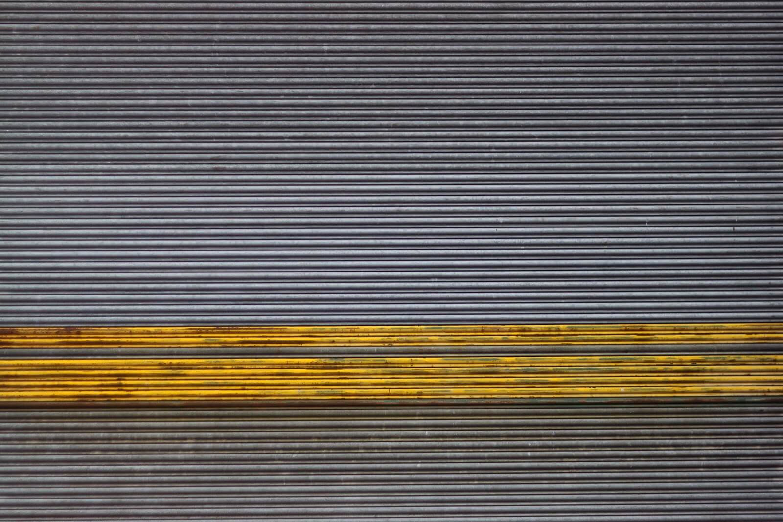 Roller Shutters Grey Yellow Stripe
